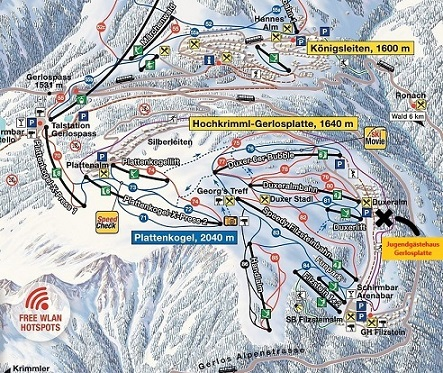 Ausschnitt Karte Zillertalarena Bergfex